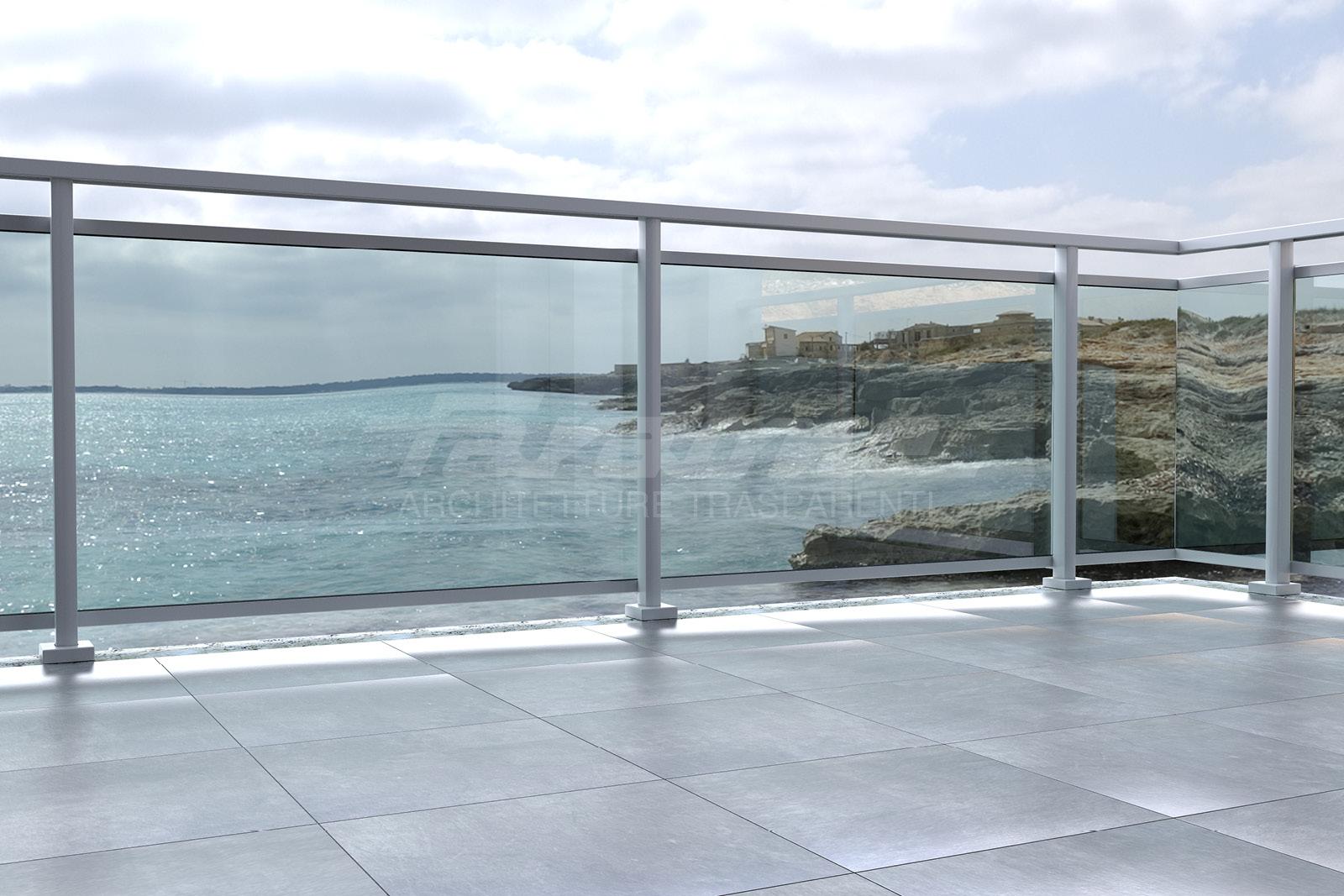 Balaustre vetro alluminio Maior Colors Plus
