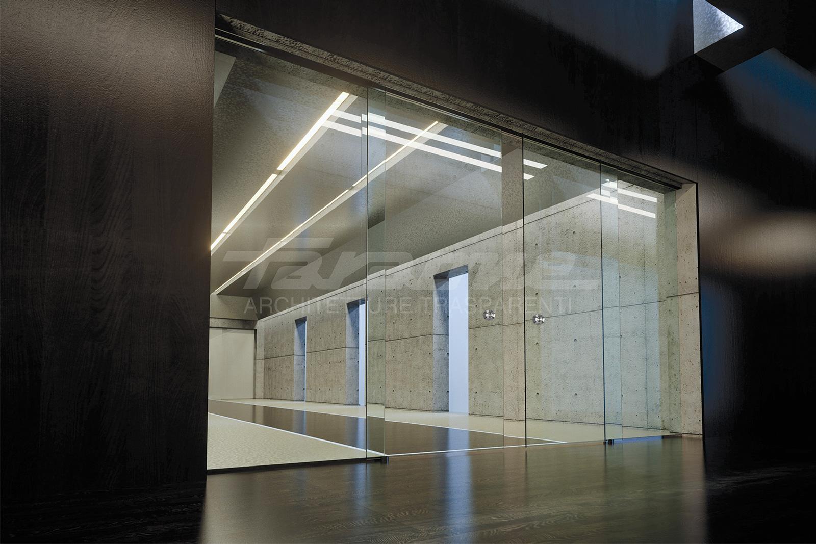 porte scorrevoli vetro alluminio Velo