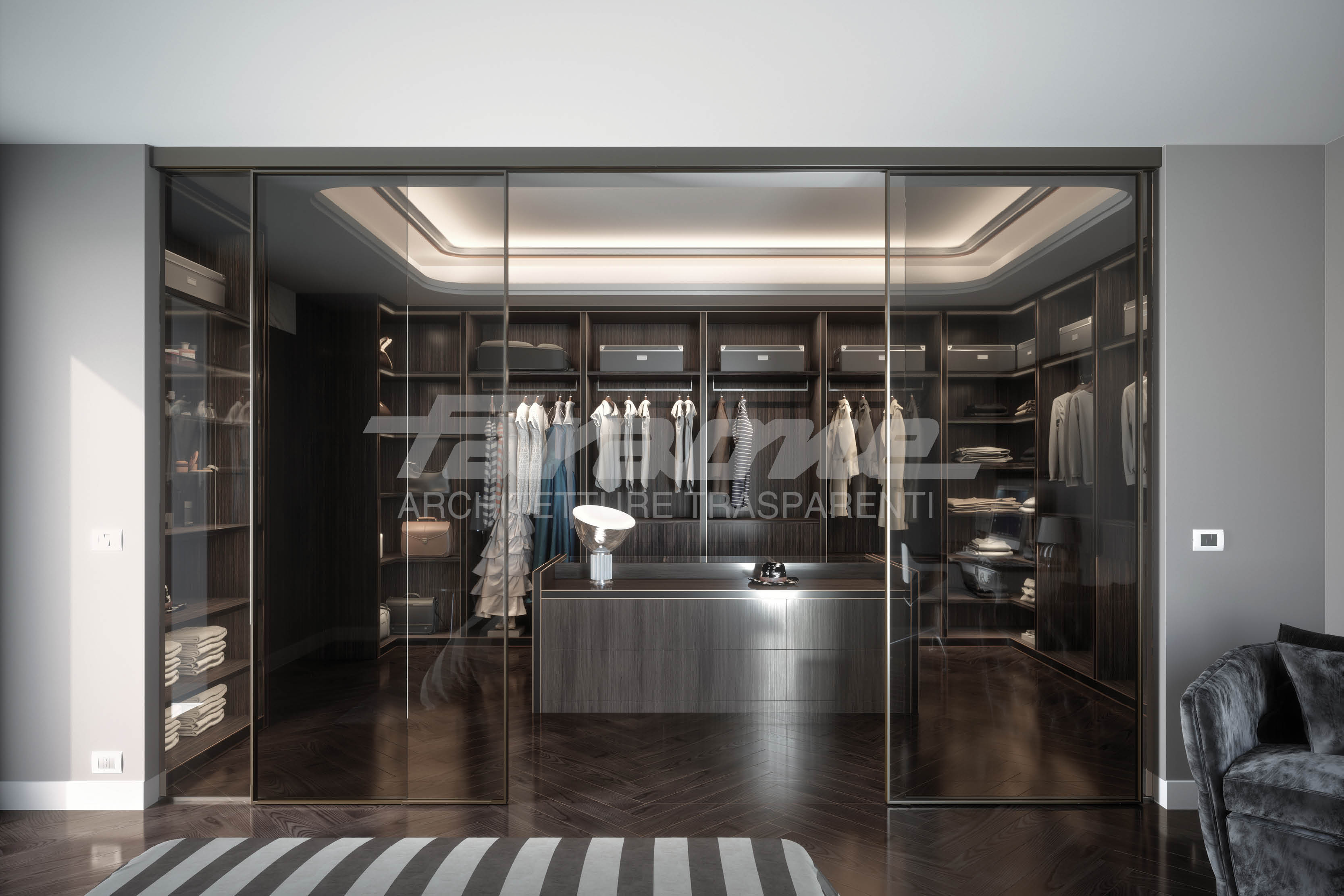 Porte scorrevoli alluminio vetro Velo
