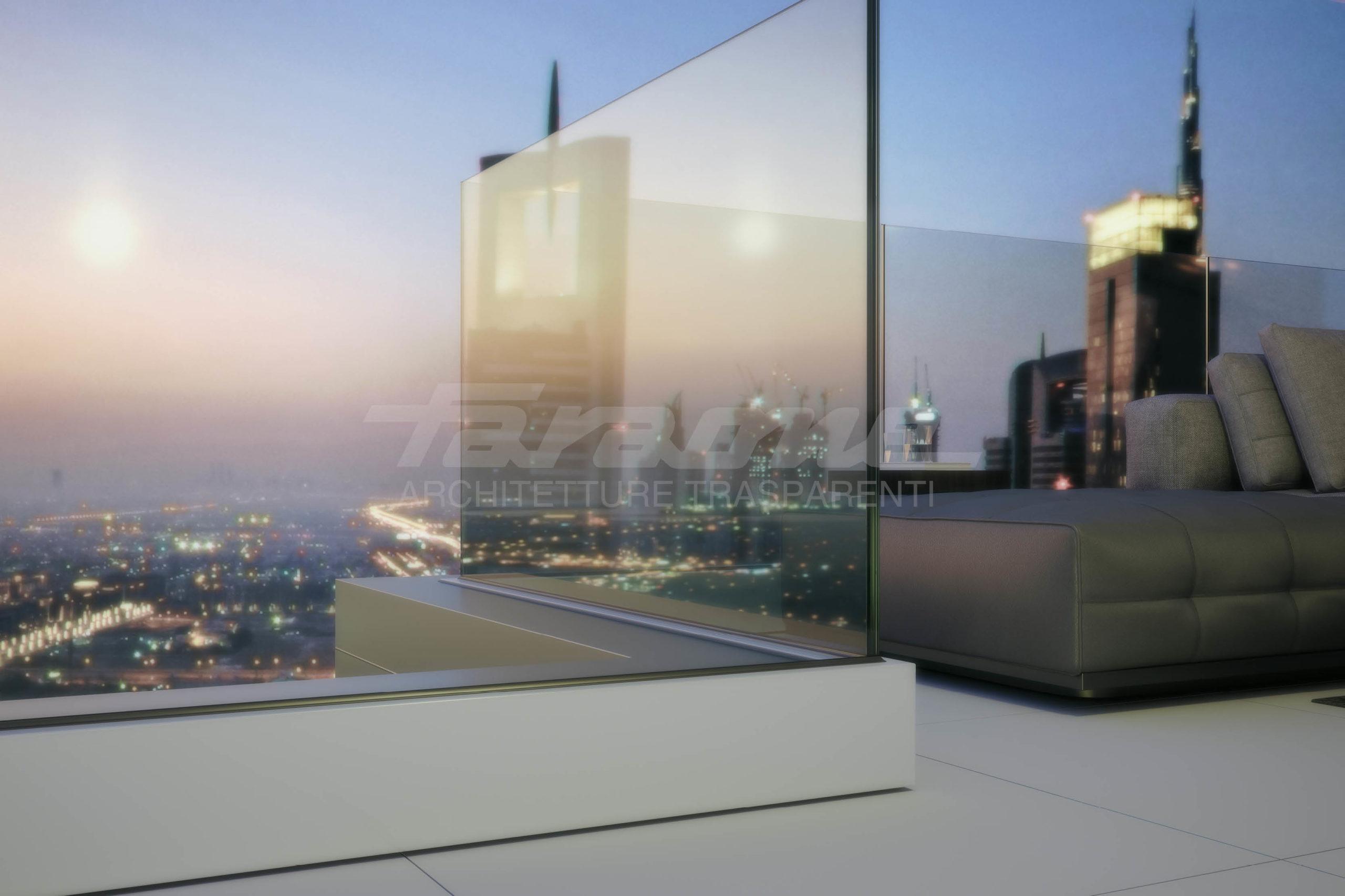 Balaustre vetro alluminio Ninfa