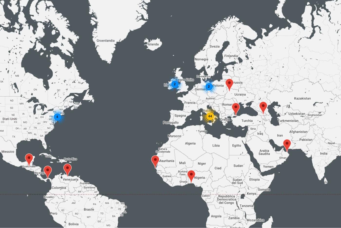 mappa di realizzazioni Faraone nel mondo