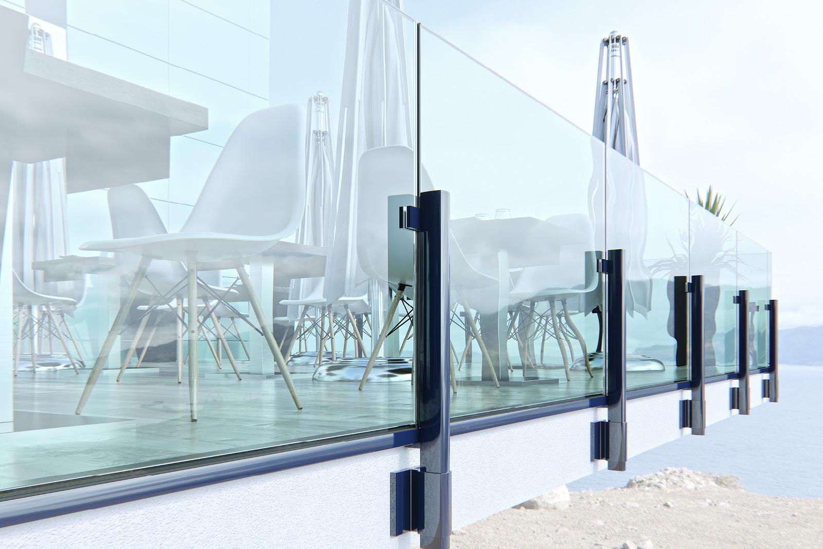 Balaustre vetro alluminio Maior Colors 60 Line